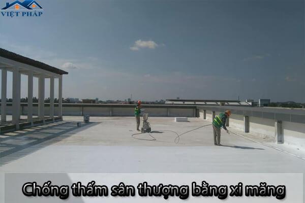 Sử dụng xi măng để chống thấm sân thượng
