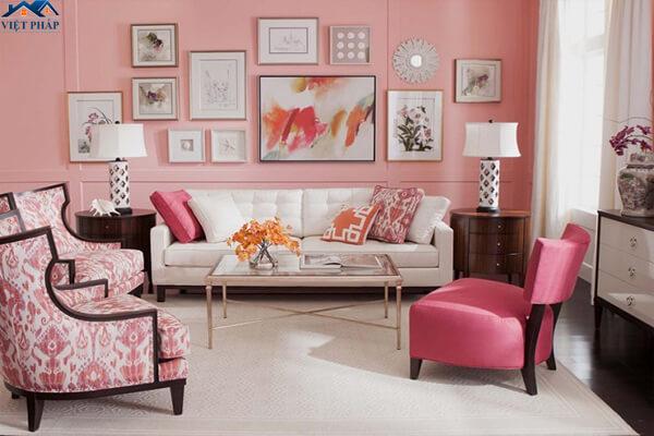 Phòng khách màu hồng phấn dành cho những gia chủ yêu thích sự nhẹ nhàng
