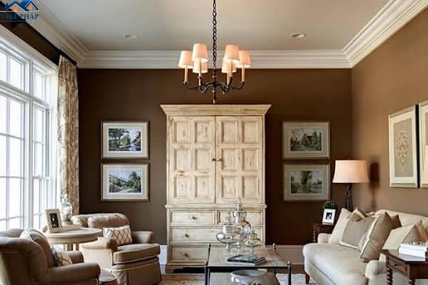 Phòng khách tường màu nâu hài hòa với nội thất