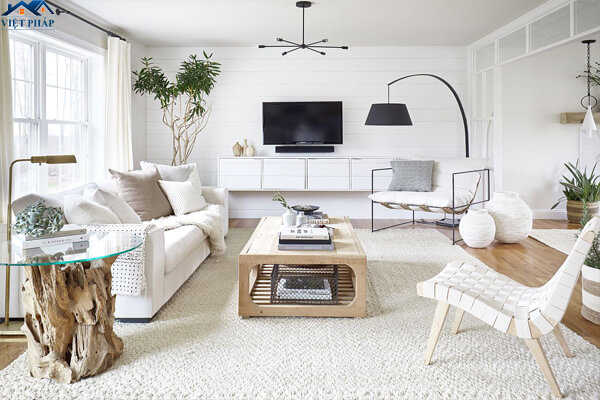 Phòng khách màu trắng đơn giản nhưng sang trọng