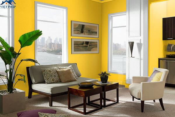 Phòng khách màu vàng ấm áp
