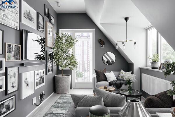 Tường phòng khách màu xám ghi độc đáo