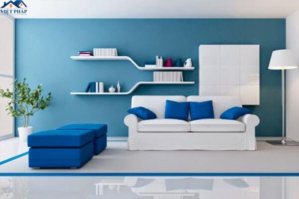 Phòng khách có màu sơn xanh dương cá tính