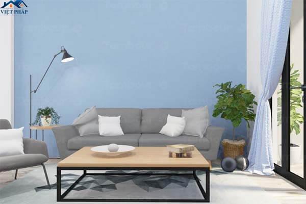 Màu xanh dương làm phòng khách trở nên mát mẻ hơn