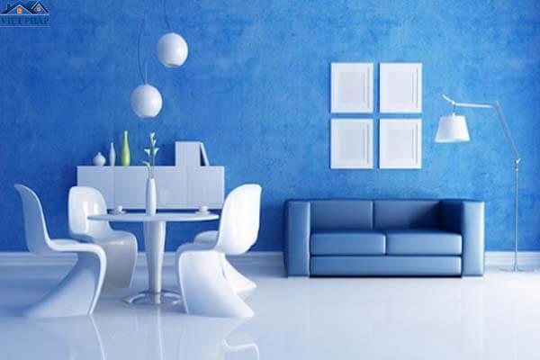 Phòng khách đẹp mắt với màu xanh dương đậm