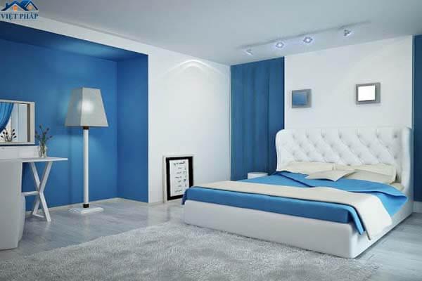 Màu xanh dương kết hợp màu trắng cho phòng ngủ