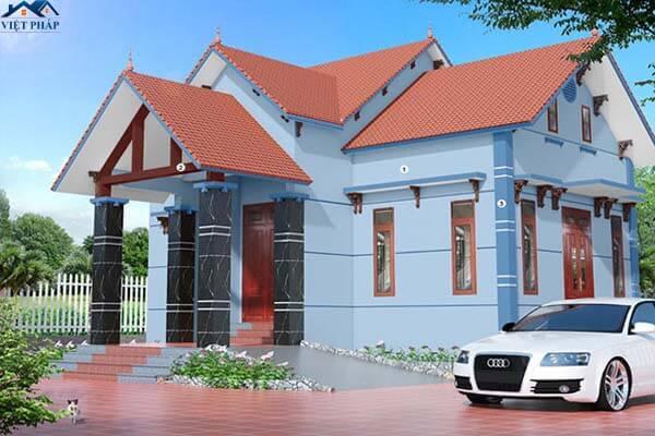 Sơn tường nhà bên ngoài màu xanh nhẹ nhàng