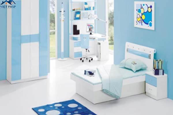 Phòng ngủ bé trai sơn màu xanh dương cá tính